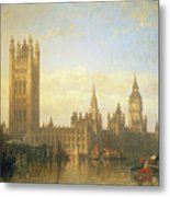New Palace Of Westminster From The River Thames Metal Print by David Roberts