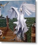 New Point Egret Metal Print