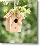 New Wooden Birdhouse Hanging On Tree Branch Outdoors  Metal Print