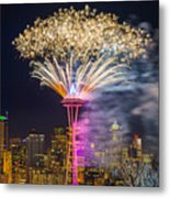 New Year Fireworks - Seattle Metal Print