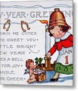 New Year Postcard Metal Print