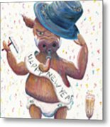 New Years Hog Metal Print