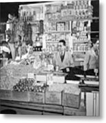 New York - Italian Grocer In The First Metal Print by Everett
