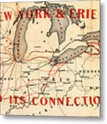 New York And Erie Railroad Map 1855 Metal Print
