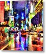New York At Night - 14 Metal Print