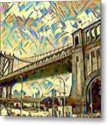 New York City - Brooklyn Bridge Watercolor Metal Print