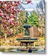 New York City Central Park Bethesda Fountain Blossoms Metal Print