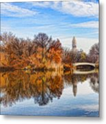 New York City Central Park Bow Bridge - Impressions Of Manhattan Metal Print