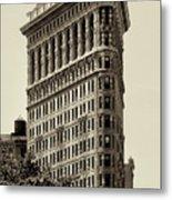 New York City - Flatiron In Sepia Metal Print