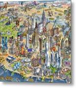 New York City Illustrated Map Metal Print