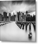New York City In Black And White Metal Print