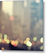 New York City Lights At Dusk Metal Print
