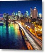New York City Lights Blue Metal Print