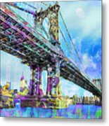 New York City Manhattan Bridge Blue Metal Print
