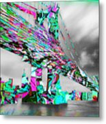 New York City Manhattan Bridge Pure Pop Green Metal Print