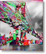 New York City Manhattan Bridge Pure Pop Red Metal Print