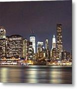 New York City - Manhattan Waterfront At Night Metal Print
