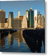 New York City Morning Reflections - Impressions Of Manhattan Metal Print