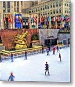New York City Rockefeller Center Ice Rink Metal Print