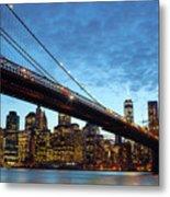 New York City Skyline By Night Metal Print