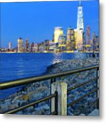 New York City Skyline From Liberty State Park In Jersey City New Jersey #3 Metal Print