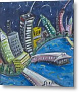New York City Skyline Hoboken Metal Print