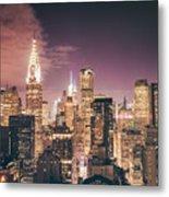 New York City Skyline - Night Metal Print