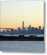 New York City Skyline With Passing Container Ship Metal Print