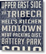 New York City Vintage Subway Stops With Map Metal Print