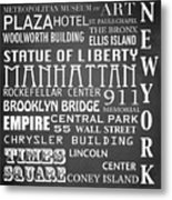New York Famous Landmarks Metal Print