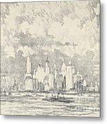 New York From Ellis Island Metal Print