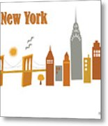 New York Horizontal Scene - Brooklyn Bridge Metal Print