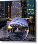 New York In Glass Ball Metal Print
