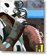 New York Jets Football Team And Original Yellow Typography Metal Print