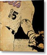 New York Mets 15 Red And Blue Vintage Cards On Brown Background Metal Print