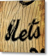 New York Mets 21 Red And Blue Vintage Cards On Brown Background Metal Print