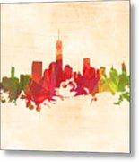 New York Orange Skyline Metal Print