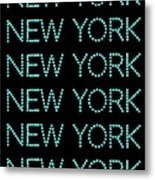 New York - Pale Blue On Black Background Metal Print