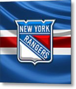 New York Rangers - 3D Badge Over Flag Metal Print