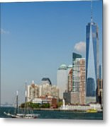 New York Skyline And Sailboat Metal Print
