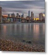 New York Skyline - Brooklyn Bridge - 9 Metal Print