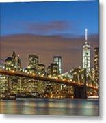 New York Skyline - Brooklyn Bridge Panorama - 2 Metal Print