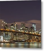 New York Skyline - Brooklyn Bridge Panorama - 3 Metal Print