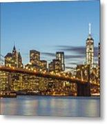 New York Skyline - Brooklyn Bridge Panorama Metal Print