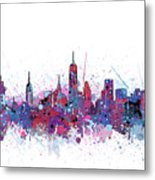 New York Skyline Color Splatter Metal Print