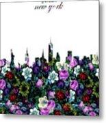 New York Skyline Floral 3 Metal Print