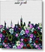 New York Skyline Floral 4 Metal Print