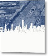 New York Skyline Map 2 Metal Print