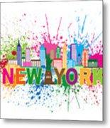 New York Skyline Paint Splatter Text Illustration Metal Print