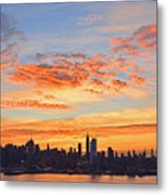 New York Skyline Sunrise Clouds And Color Metal Print